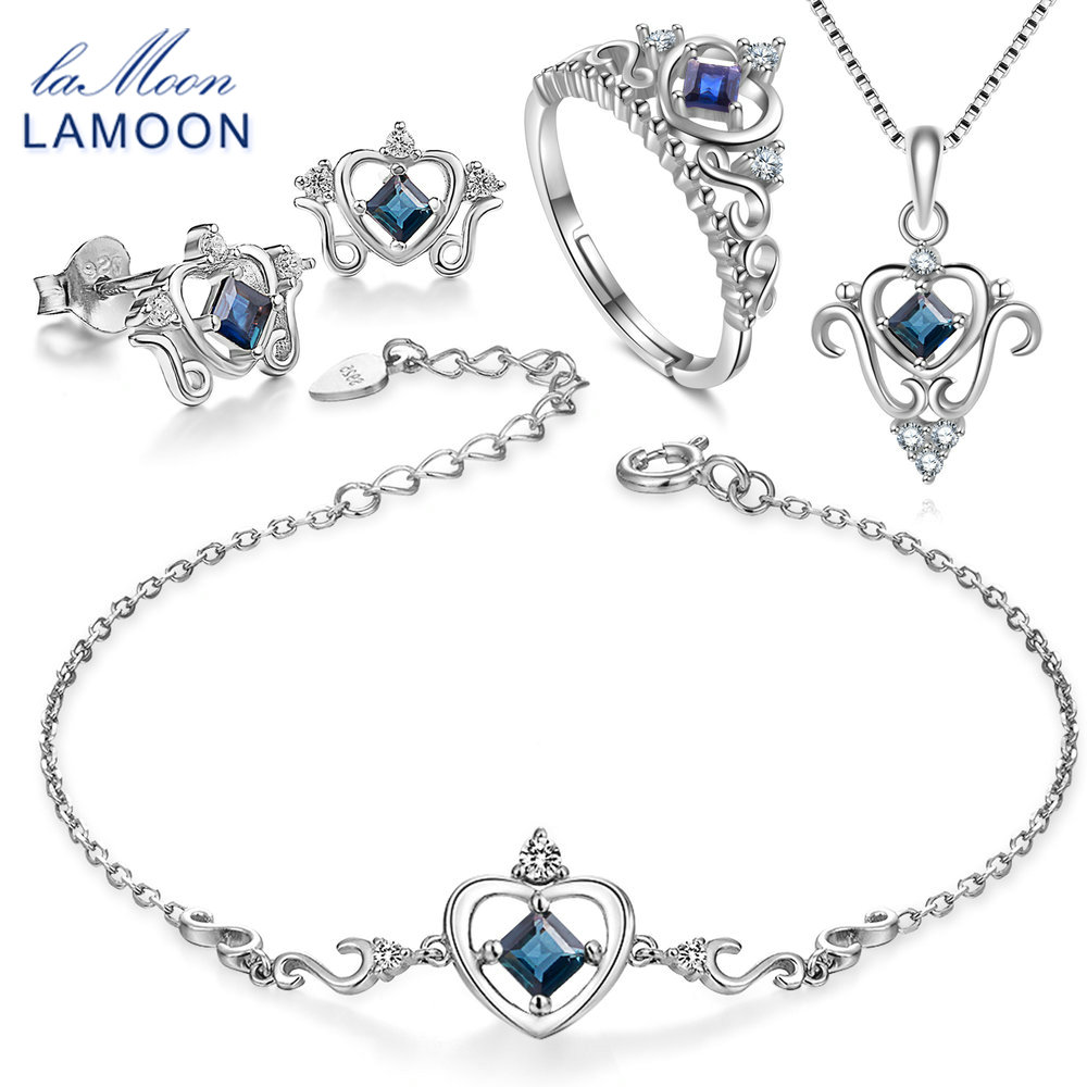 LAMOON 2018 Real 925 Sterling Silver Natural Blue Sapphire 4PCS Jewelry Sets S925 Fine Jewelry for