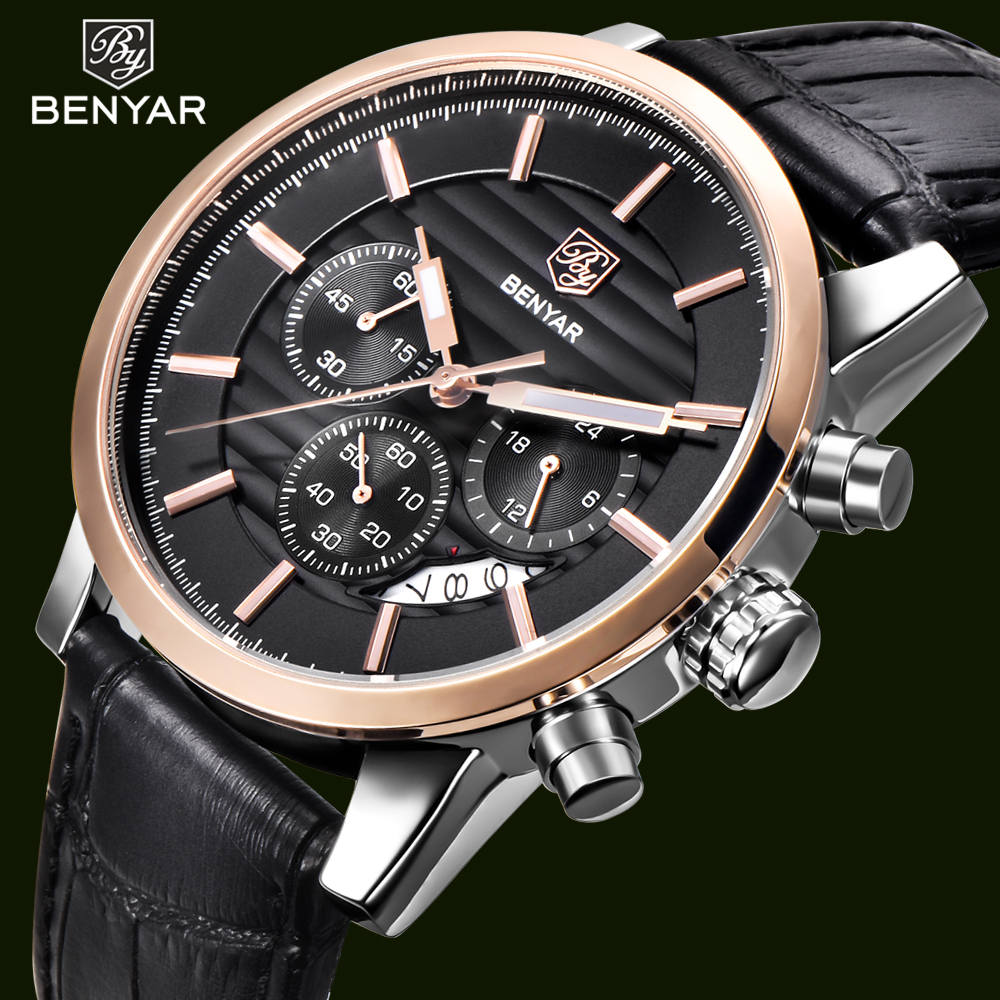 BENYAR Men's Watch Chronograph Sport Watches Leather Strap Man Quartz Wristwatch Waterproof Analog Men Clock Relogio Masculino chenxi men watch calendar quartz wristwatch chronograph leather strap waterproof men s sport watches gifts relogio masculino