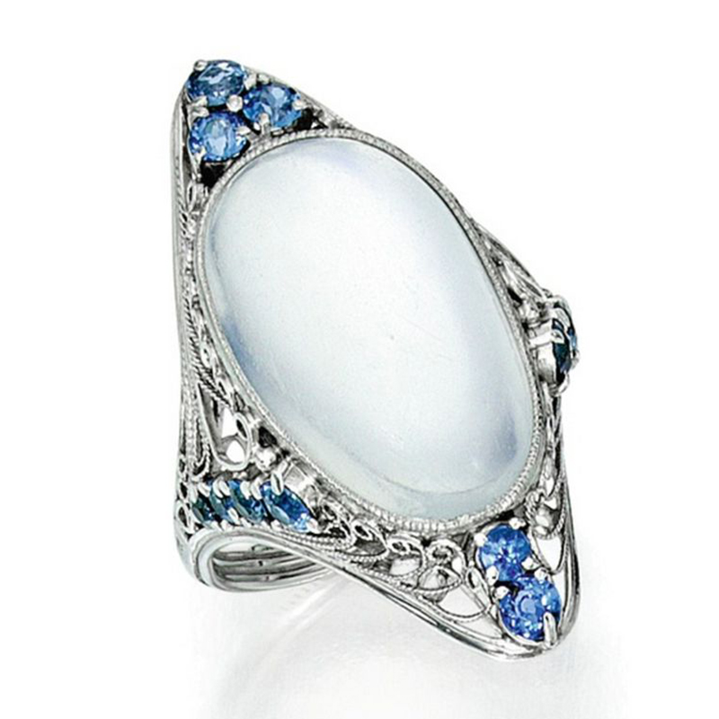Large Oval Moonstone Rings for Women Wedding Classic ...