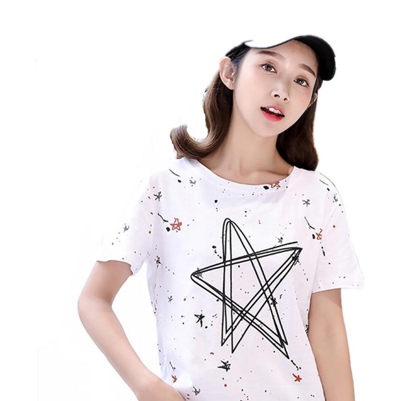 Pentagram Print Simple T shirt Women 2018 Summer Korean