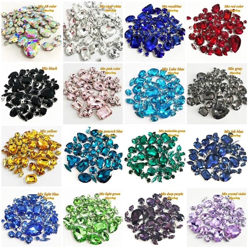 68 teile/paket silber bottom mix form Top kristall galss nähen auf steinen, mix größe klaue strass mit löchern für diy/hochzeit kleid
