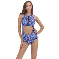 Women Swimsuit Swimwear For TeenagersWomen print leaf zipper piece swimsuit Maillot De Bain Femme Deux Pieces Bikini