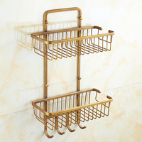 Dual Tier Copper Square Bathroom Basket Vintage Antique Kitchen Rack Shelf Wall Mounted European Storage Rack