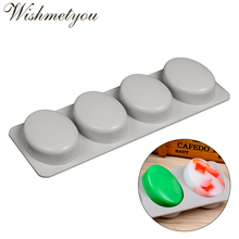 WISHMETYOU 4 Holes Oval Soap Mold Silicone Muffin Tray Round Soaps Cake Decorating Tools For Handmade Diy Craft Molds