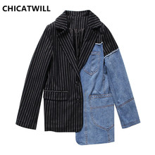 CHICATWILL High Street Runway Fashion 2019 Designer Women Denim Patchwork Striped Blazers BF Special Office Lady Top Outerwears