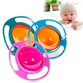 Novelty ABS Plastic Healthy Baby Kids Non Spill Feeding Toddler Saucer Bowl Practical 360 Rotating Design Avoid Food Spilling