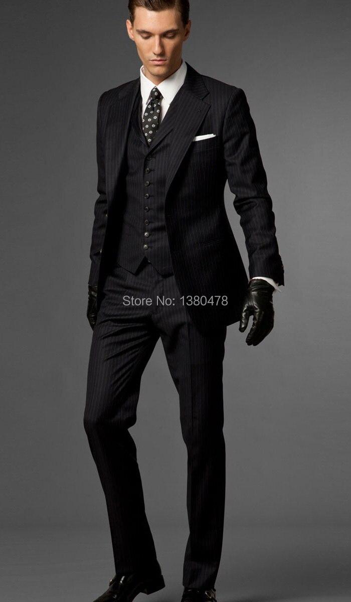 2016 Slim Fit dos botones rayas negras novio esmoquin muesca solapa mejor hombre padrino hombres boda trajes chaqueta + Pantalones + corbata + chaleco