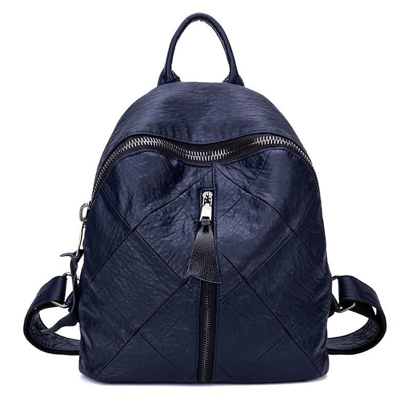 New Women s Backpack Pu Leather Zipper Student Backpacks Lingge Casual Girl Back Pack School Bags