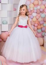 Long Lace Flower Girl Dress For Weddings 2016 Ball Gown Chapel Train Tulle Little Girls Pageant Communion Dress FH23