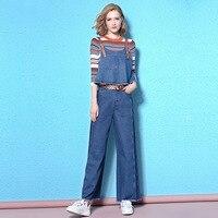 Fashion 3 Piece Set 2017 Shirt Vest Top And Wide Leg Pants Denim Fall Autumn Set