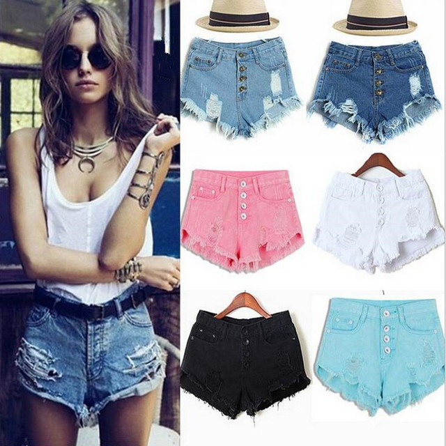 2016 summer casual high waist ripped jeans shorts multi-color single-breasted fringe denim shorts