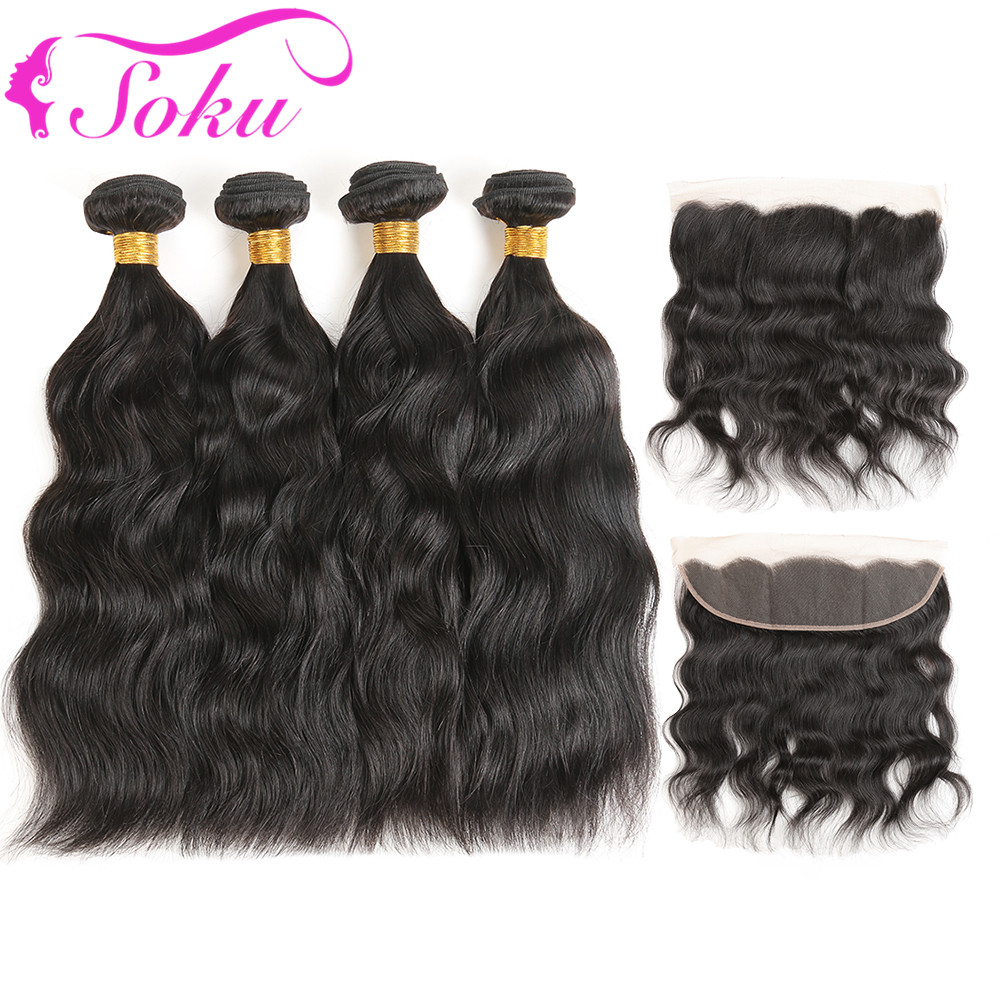 Brazilian Natural Weave 4 Bundles With Frontal SOKU Non Remy Human Hair Bundles Weaves With 13*4 Lace Closure Frontal