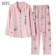 BZEL 코 튼 잠 옷 여성을위한 긴 소매 잠 옷 만화 폭스 Homewear 핑크 Pijama Mujer 수면 라운지 레저 홈 천 M 3XL
