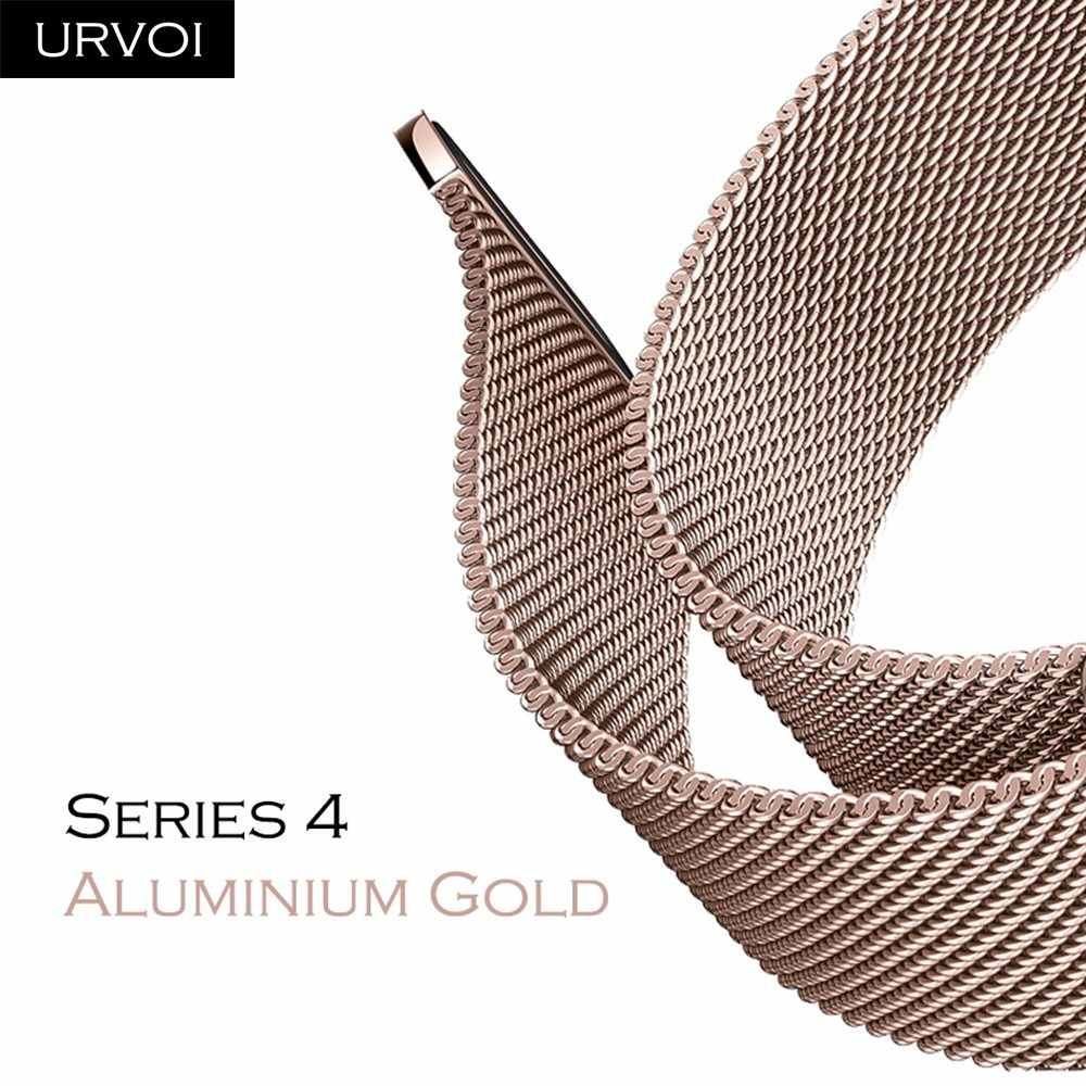 URVOI Milanese loop for Apple Watch Series 4 aluminum gold band strap for iwatch stainless steel Magnetic buckle with adapter