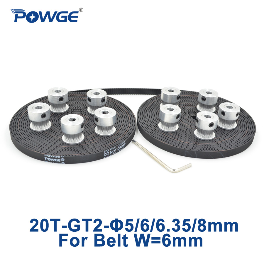 POWGE 10pcs 20 teeth GT2 Timing Pulley Bore 5mm 6mm 6.35mm 8mm + 10Meters GT2 Timing Belt width 6mm 2GT pulley 20Teeth 20T powge 8pcs 20 teeth gt2 timing pulley bore 5mm 6mm 6 35mm 8mm 5meters width 6mm gt2 synchronous 2gt belt 2gt 20teeth 20t