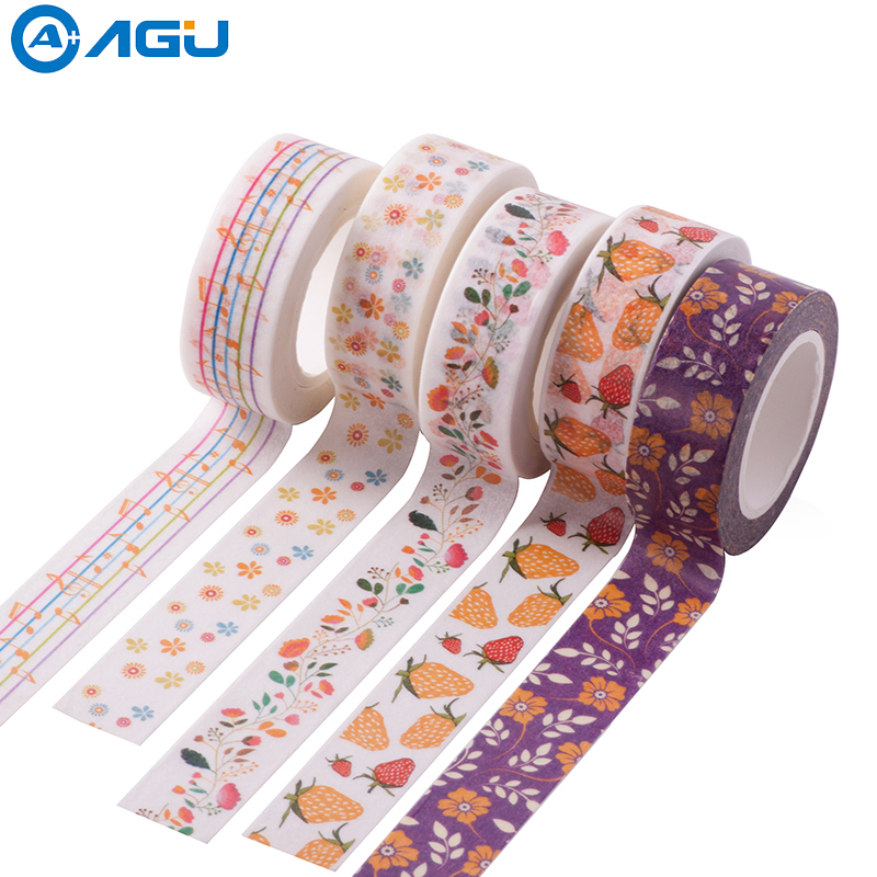 AAGU New Arrival 1PC 15mm*10m Musical Note Fresh Floral Washi Tape Strawberry Sticky Adhesive Tape Various Patterns Masking Tape aagu new arrival 1pc 15mm 10m musical note fresh floral washi tape strawberry sticky adhesive tape various patterns masking tape