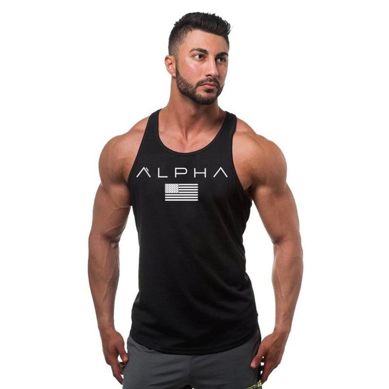ALPHA New fashion cotton sleeveless shirt   tank     top   men fitness shirt men golds bodybuilding workout gym singlet vest fitness men