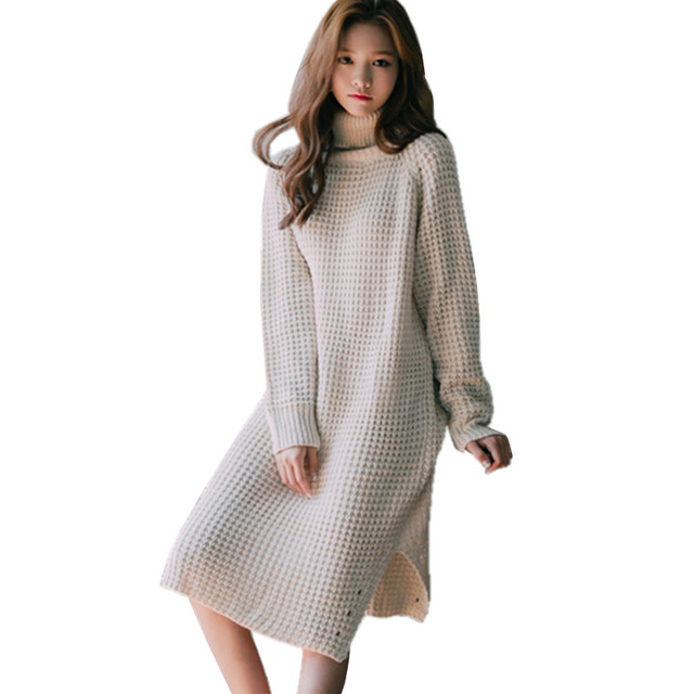 Autumn Winter Thick Long Sweater Women Loose Oversized Turtleneck Sweater  Dress Side Slit Knitted Pullover long 0681fe38cc30