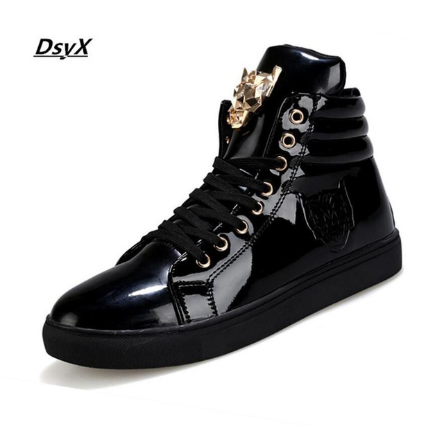 03a3dcf0a7119 New Fashion High Top Casual Shoes For Men PU Leather Lace Up Red White  Black Color Mens Casual Shoes Men High Top Shoes Retail