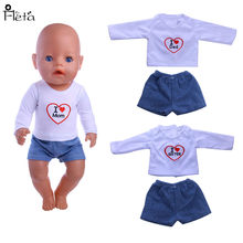 Fleta Fashion Letter T-shirt + jeans fit 43cm Doll or 18 inch doll accessories baby the best gift(China)