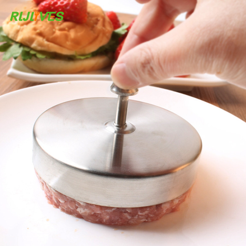 RLJLIVES 1 Pc 9.5cm Round Shape Hamburger Press Stainless Steel Pork Beef Meat Pie Burger Making Mold Kitchen Tools