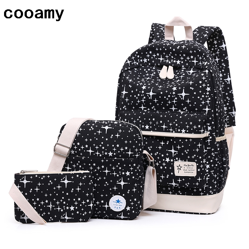 Canvas Backpack Women Dot Star School Bag For Teenagers Girls Composite Bags Set Travel High Quality Female Backpack canvas backpack women dot school bag for teenagers girls preppy style composite bags set travel high quality female backpacks