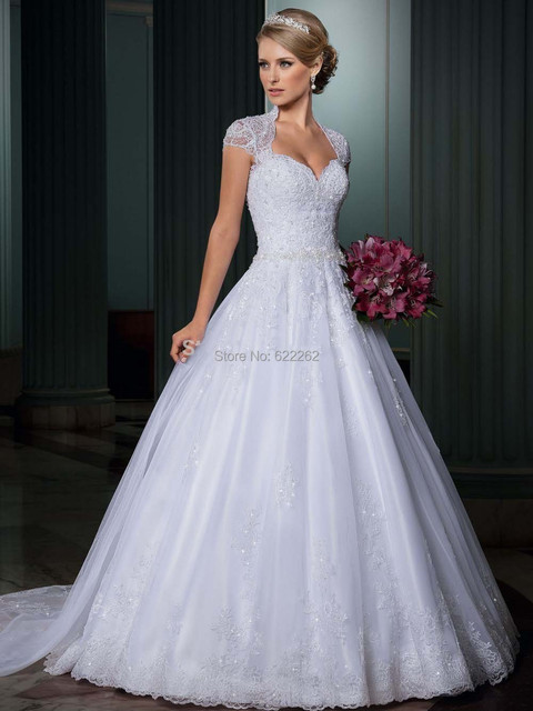 Ced Sleeve Sweetheart Covered Shoulder Beads Sequins Lique A Line Organza Wedding Dresses Backless Court Train