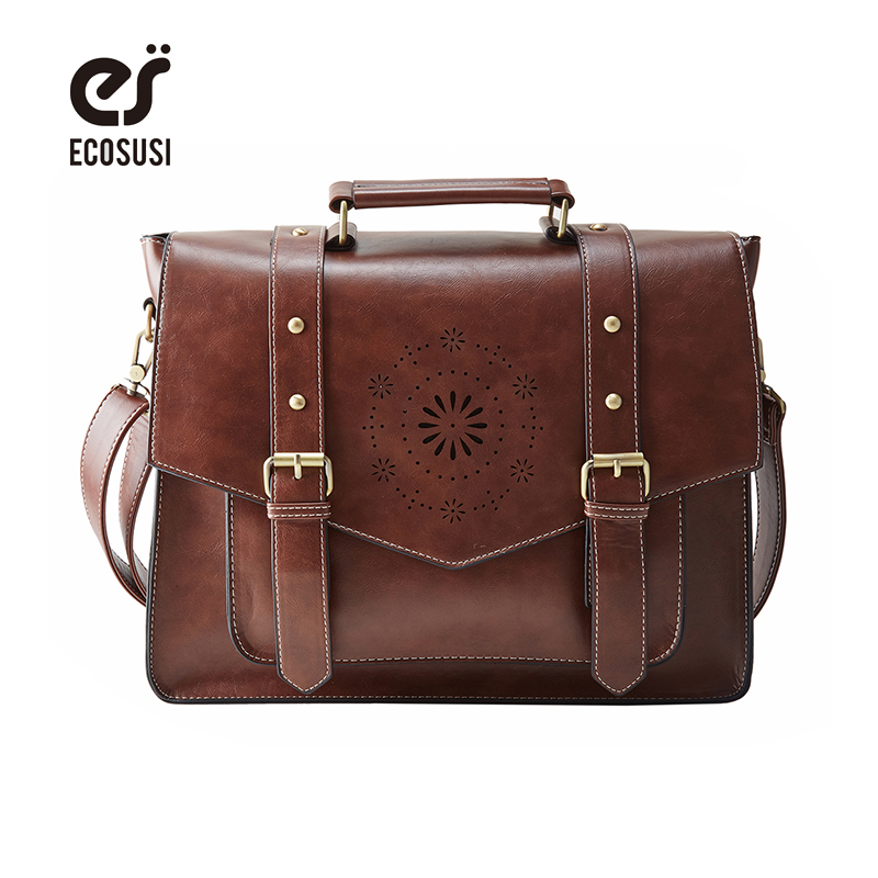 ECOSUSI Retro Faux Leather 14.7 Laptop Crossbody Briefacase Messenger Bags Women Satchel Bags For School School Shoulder Bags retro british school women messenger bag embossed hollow out shoulder briefcase department of forestry casual satchel