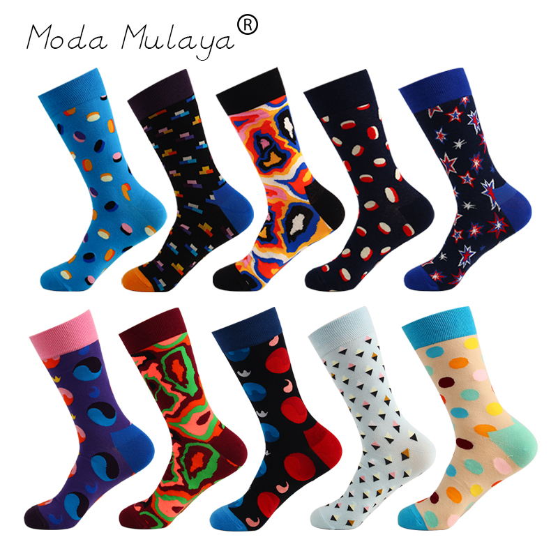 Moda Mulaya New Arrival Men's Happy   Socks   Mens 100% Combed Cotton Thermal Funny   Socks   Long Crew Unisex Casual Gift   Socks   for Men