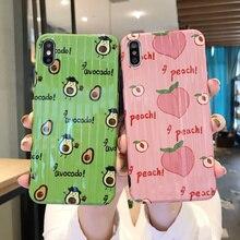 Cute Fruit Pattern Peach Avocado Phone Cover Case For Iphone X Xs Max Xr 10 8 7 6 6s Plus Luxury Girl Soft Silicone Coque Fundas dynamic liquid avocado phone case for iphone xs max xr x coque back cover for iphone xs max xr x 6 7 8 plus 6s plus fundas