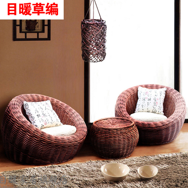 Bamboo Couch And Chairs Best Rated Massage Chair Single Head Warm Wicker Rattan Outdoor Sofa Balcony Leisure Beanbag Furniture