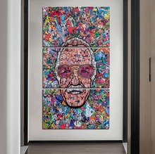 High Quality Canvas Print 3 Piece Comic Creator Stan Lee Painting  Home Decorative Celebrity Poster Modern Artwork Wall Pictures все цены