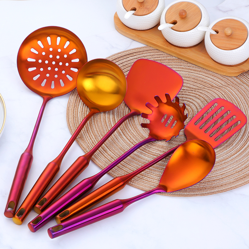 7PCS Set Stainless Steel Rainbow Kitchen Utensils With Holder Cooking Tools Set Turner Ladle Spoon For