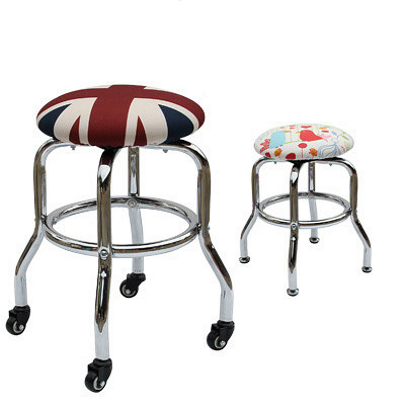 European Style Haircut Stool Slidable Beauty Salon Chair Explosion-proof High Foot Bar Chair Rotated Makeup Stool Multifunction