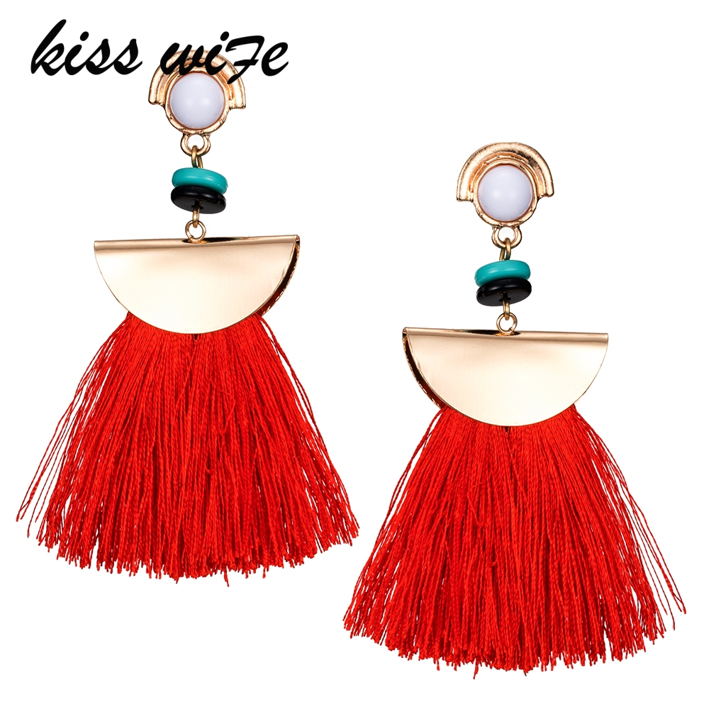 KISS WIFE 2017/Brand Drop Earrings For Women Bohemian Ethnic Big Long Tassel Earrings Wholesale Fashion Jewelry Style Earrings F