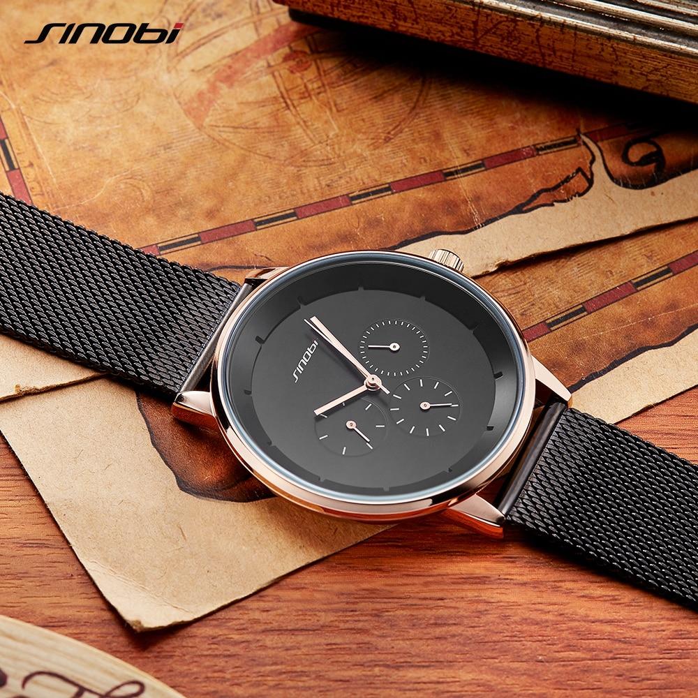 New Watches Men Luxury Brand SINOBI Sport Casual Quartz Watch Fashion Mesh Strap Waterproof Clock Male Relogio Masculino цена