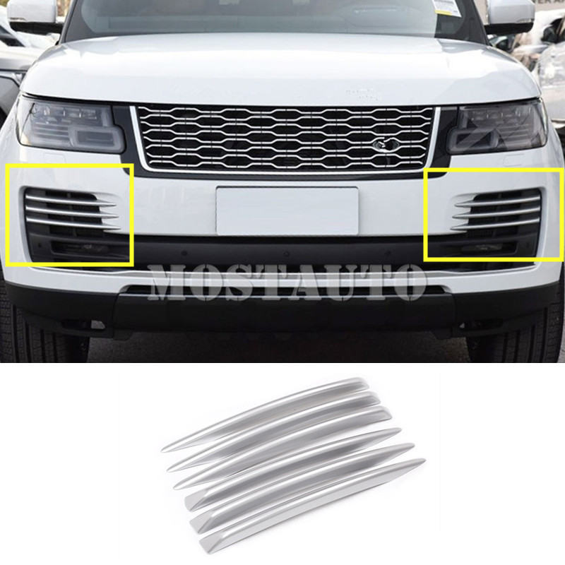 For <font><b>Land</b></font> <font><b>Rover</b></font> Range <font><b>Rover</b></font> <font><b>L405</b></font> ABS Front Bumper Grille Air Vent Trim Cover 2018 6pcs Black/Silver image