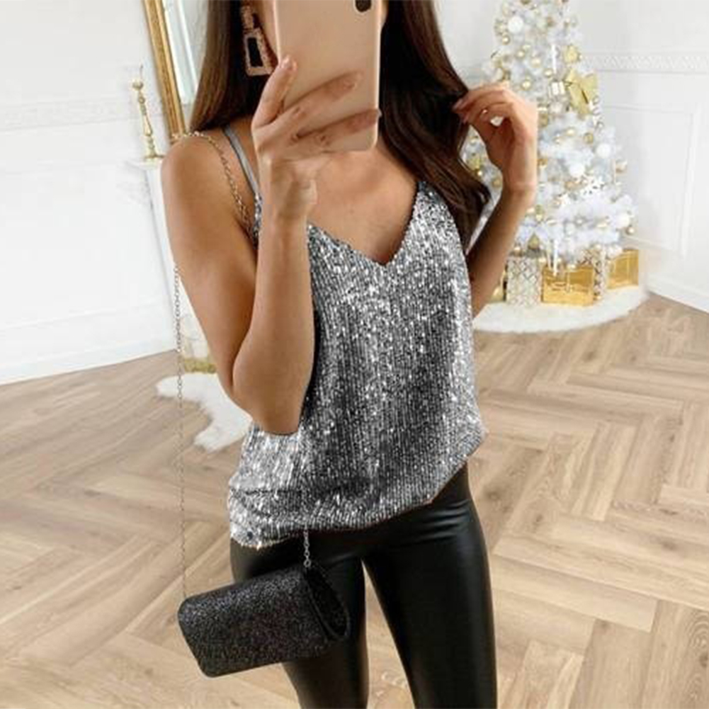 Casual V Neck Sexy Travel Solid Party   Tank     Top   Women Camisole Summer Pullover Loose Sequin Shiny
