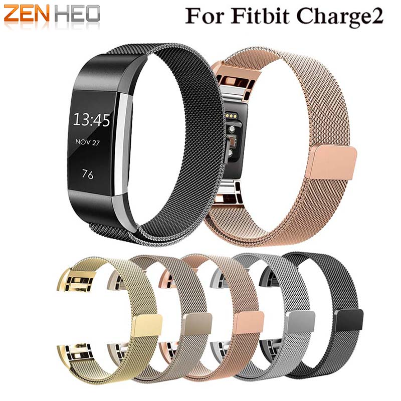 ZENHEO Milanese Loop For Fitbit charge 2 Link Bracelet Stainless Steel wrist watch band strap Bands