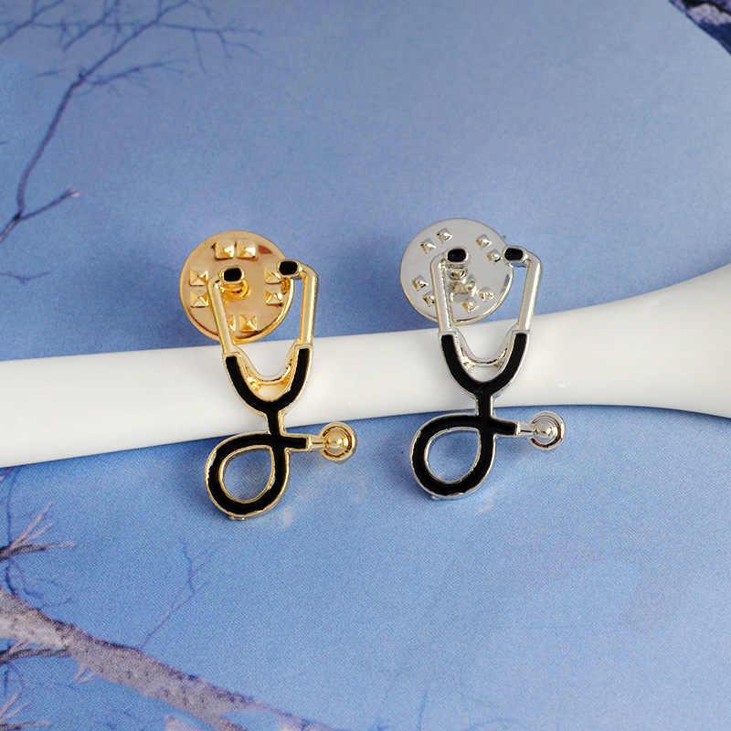 かわいい男性女性ブローチドクターナース聴診器ブローチ医療ジュエリーエナメルピンデニムジャケット襟バッジピンボタン