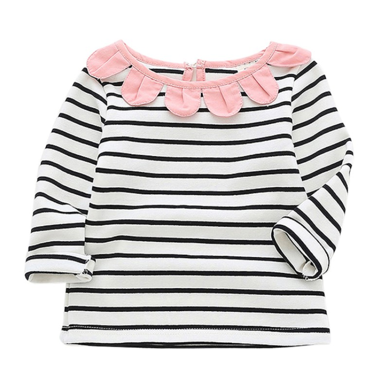 Autumn <font><b>Baby</b></font> Girls <font><b>Shirt</b></font> <font><b>Long</b></font> <font><b>Sleeve</b></font> Stripe Tops Soft Cotton Infant Kids T-<font><b>Shirt</b></font> Warm Fashion Clothes image