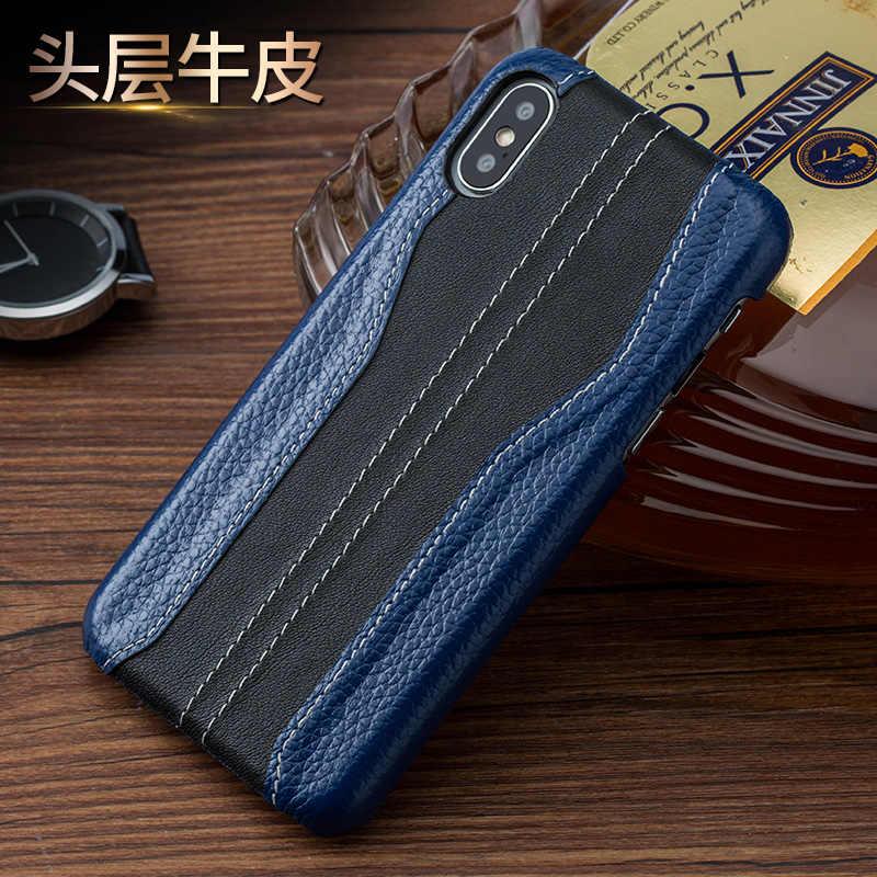 高級ステッチ本革携帯電話ケースのための iphone 11 プロ Max X XS XSmax XR 6 6 4s 5 5s se 7 7 プラス 8 8 プラス保護バックカバー