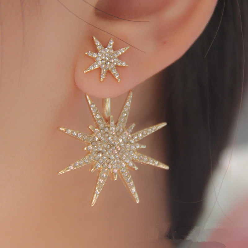 After the fashion new accessories wholesale hanging snowflake earrings guardian accessories hexagram earrings