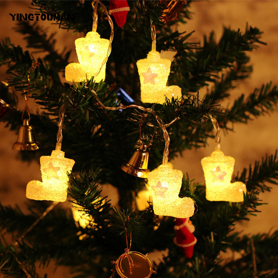 YINGTOUMAN Christmas Boots Type Lamp USB LED String Light Christmas Holiday Wedding Party Decoration Lighting 4m 20LED