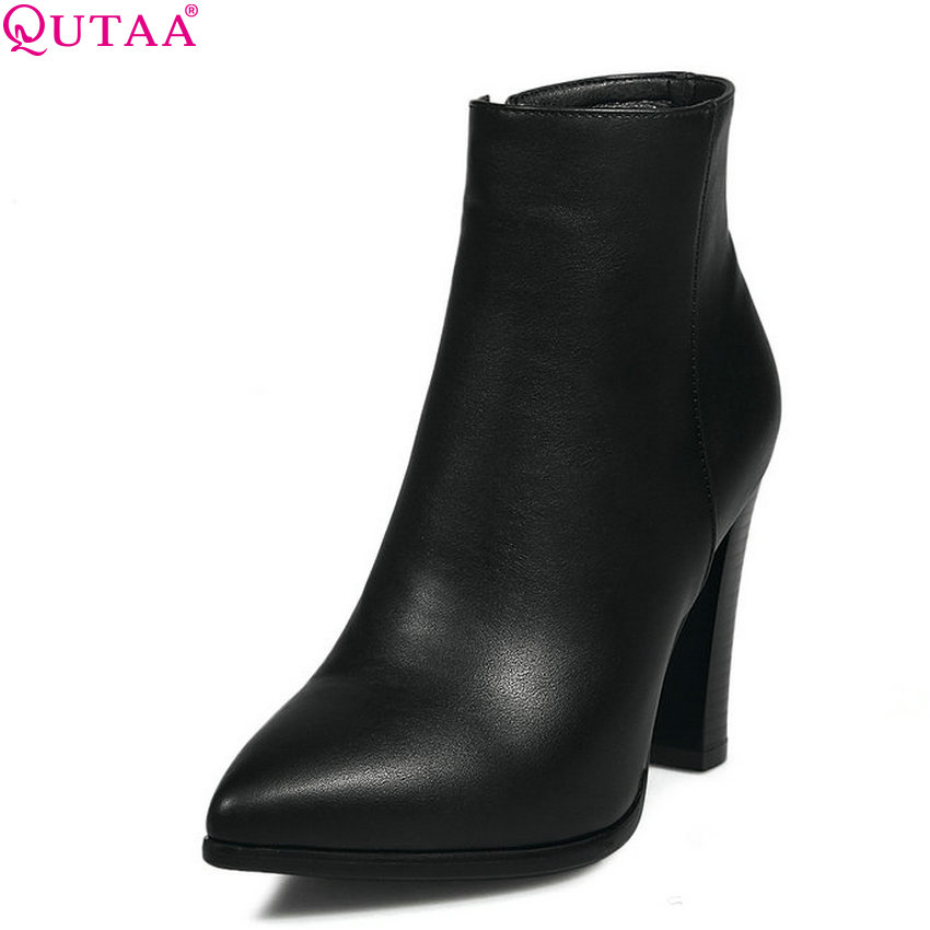 QUTAA 2020 Westrn Style Women Ankle Boots Pointed Toe Square High Heel Zipper Design Fashion Women