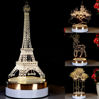 3 Colors Changing LED Night Light 3D Acrylic Visual Illusion Lamp Novelty Creative Table Lamp For