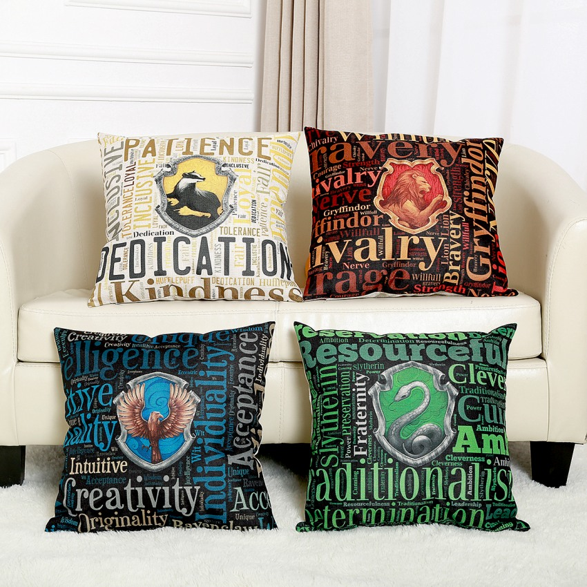 Harry Potter Hogwarts 4 Houses Logo Sign Yellow Blue Green Red Home Decor Square Sofa Cushion Cover Rectangle Waist Pillow Case