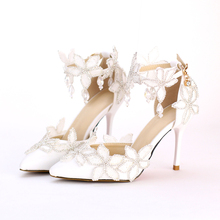 Womens Stiletto Pumps Elegant White Lace Flower Diamond High Heel Wedding Bridal Shoes 9cm