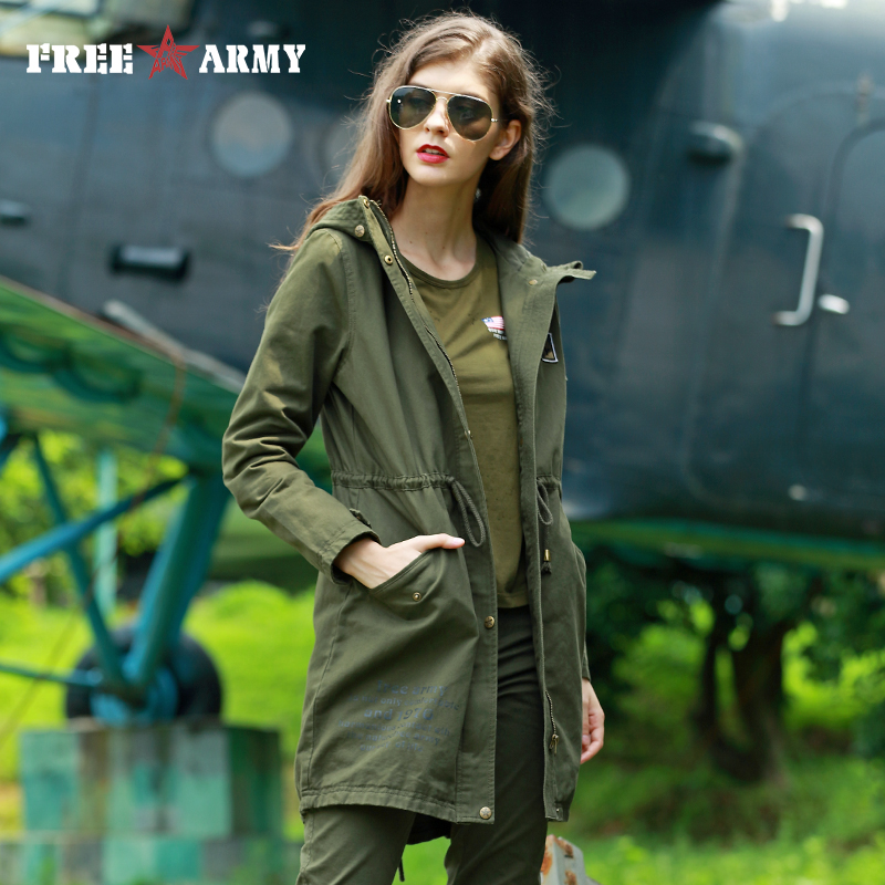 New Fashion Plus Size Women Coat 2017 Spring Autumn Casual Camo Hooded Long   Trench   Coat Female Slim Green Solid Thin Outerwear