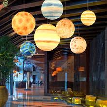 Nordic Creative Universe planet Earth pendant lights resin Living room Restaurant lamp Hotel Cafe hanging light fixtures